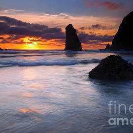 Haystack Sunset by Mike  Dawson