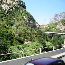 Highway Scenery Towards Montserrat Mountain Top From Barcelona Spain by John Shiron