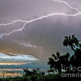 Lightning Silhouette at Crystal Beach by Stephen Whalen