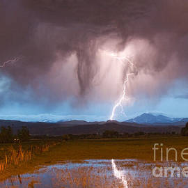 Lightning Striking Longs Peak Foothills 3 by James BO Insogna
