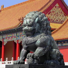 Lion Sculpture by Pagoda by Sally Weigand