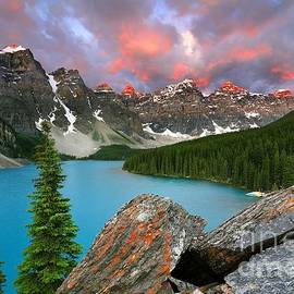 Colorful Sunrise at Moraine Lake in Banff National Park by Tom Schwabel