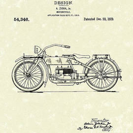 Motorcycle Design 1919 Patent Art by Prior Art Design