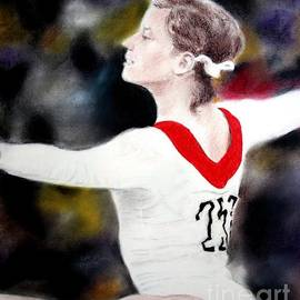 Olga Korbut Performing at the 1972 Summer Olympics in Munich by Jim Fitzpatrick