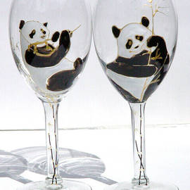 Pandas on glass by Pauline Ross