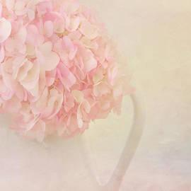 Pink Hydrangea Flowers in White Vase by Kim Hojnacki