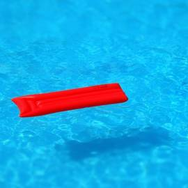 Pool - blue water and red airbed