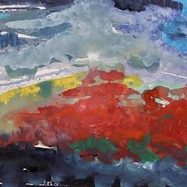 Mary Carol Williams - Red Poppies on Indigo Ground