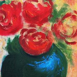 Red Roses In Blue Vase by G Linsenmayer