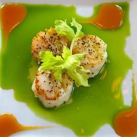 Scallops in green sauce by Kathryn Barry