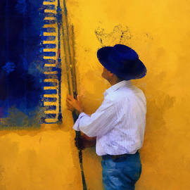 Jenny Rainbow - Spanish Man at the Yellow Wall. Impressionism