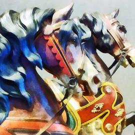 Two Carousel Horses Closeup by Susan Savad