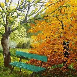 Brigitte Grange - Un banc en automne