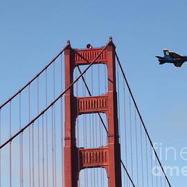 Wingsdomain Art and Photography - US Navy Blue Angels Crossing The San Francisco Golden Gate Bridge - 5D18943