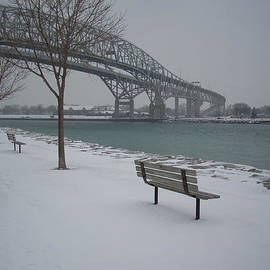 Winter Benches At The Bluewater Bridges Sarnia by Bruce Ritchie