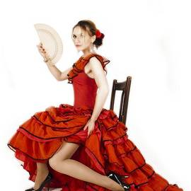 Young lady in hispanic red dress 04 by Vlad Baciu