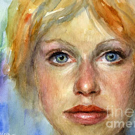 Svetlana Novikova - Young woman Watercolor portrait painting
