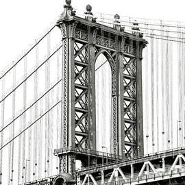 Manhattan Bridge NYC in Black and White by Regina Geoghan