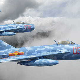 Mig 17s On Patrol by Rob Lester