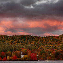 New England Fall Foliage Over The Small White Church by Jeff Folger