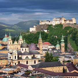 Andrey Omelyanchuk - Aerial View of Salzburg in the Evening, Austria