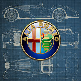 Alfa Romeo 3 D Badge over 1938 Alfa Romeo 8 C 2900 B Vintage Blueprint