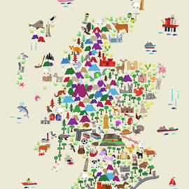 Animal Map Of Scotland For Children And Kids by Michael Tompsett