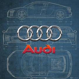 Audi 3 D Badge over 2016 Audi R 8 Blueprint