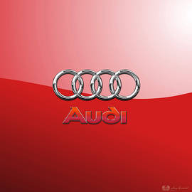 Audi - 3D Badge on Red