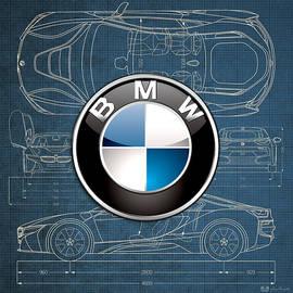 B M W 3 D Badge over B M W i8 Blueprint