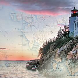 Jeff Folger - Bass Harbor lighthouse on a chart