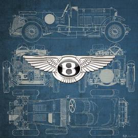 Bentley - 3 D Badge over 1930 Bentley 4.5 Liter Blower Vintage Blueprint