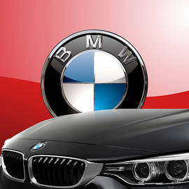Black B M W - Front Grill Ornament and 3 D Badge on Red