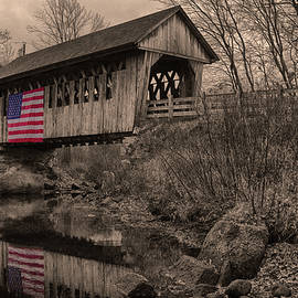 Cilleyville Covered Bridge in sepia by Jeff Folger