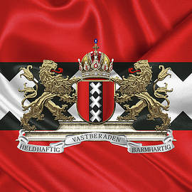 Coat of arms of Amsterdam over flag of Amsterdam