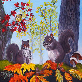 Collecting acorns for winter by Lois Viguier
