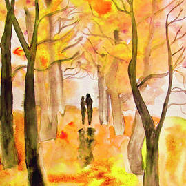 Couple on autumn alley, painting by Irina Afonskaya