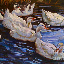 Ducks Swimming in a Pond by Farideh Haghshenas