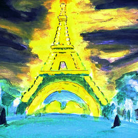 Eiffel Tower Night Optical Illusion by Stanley Morganstein