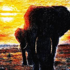 Hartmut Jager - Elephant  Sunset