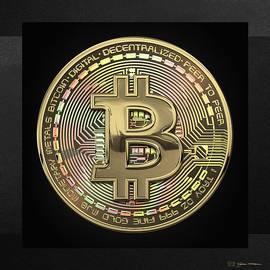 Gold Bitcoin Effigy over Black Canvas