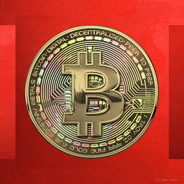 Gold Bitcoin Effigy over Red Canvas