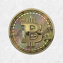 Gold Bitcoin Effigy over White Leather
