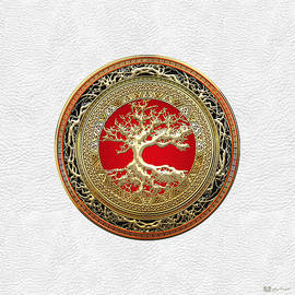 Gold Celtic Tree of Life on White Leather
