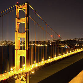 Golden Gate Bridge At Night by Digiblocks Photography