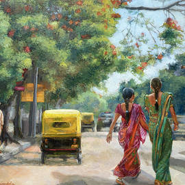 India Street Scene in Flowery Bangalore by Dominique Amendola