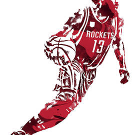 JAMES HARDEN HOUSTON ROCKETS PIXEL ART 7 - Joe Hamilton