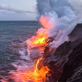 Kilauea Volcano Lava Flow Sea Entry 7 - The Big Island Hawaii by Brian Harig