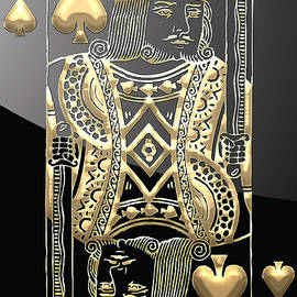 King of Spades in Gold on Black