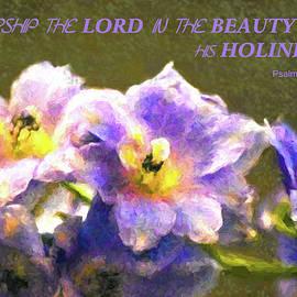 Sandi OReilly - Light Blue Belladonna Delphiniums and Scripture